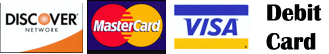 Master Card, Visa, Discover and Debit